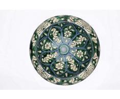 Baila - Lavabo de cerámica de Talavera de México Motivos decorativos coloridos Cuarto de baño ideal con azulejos con efecto de madera Azulejos de cemento Gabinete rústico
