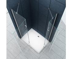 La entrada en curva Cabina de ducha Ducha Monett 90 x 75 x 185 cm / 8 mm / con plato de ducha y sifón