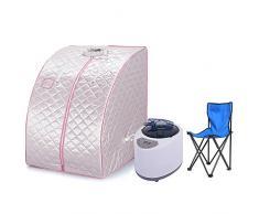Wefun sauna de vapor portátil,1200W Inicio sauna con silla y control remoto (plata)