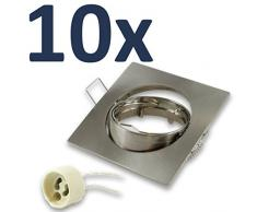 Marco de montaje 10 unidades/para foco halógeno Spot LED empotrable, rectangular con portalámparas GU10)