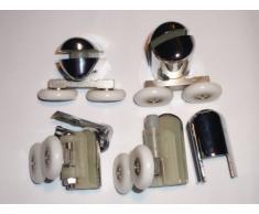 Juego de 4 cromado para mampara de ducha de 2 soportes para cañas de pescar superior e inferior 2 AM04-4