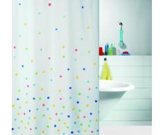 Spirella 1008112 Sweetie - Cortina de ducha de tela (180 x 200 cm, poliéster), color blanco con cuadros de colores
