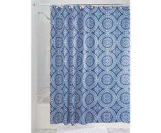 InterDesign - Medallion - Cortina para ducha, 180 x 200 cm, Blanco/Azul tinta