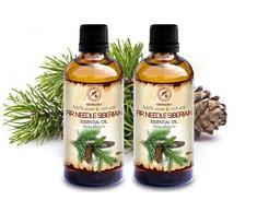 Aceite Esencial Siberiano de Abeto 200ml - 2x100ml - Abies Sibirica - 100% Puro y Natural - Utilizado para Aliviar el Estrés - Calmar - Sauna - Fragancias para el Hogar - Aroma Fresco