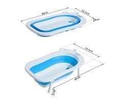 Homcom® bañera Baby plegable con patas Jabonera 89 cm (Azul)