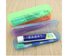 CAOLATOR Caja de Plástico Portátil Cepillo de Dientes para el Viaje Cepillo de Dientes Caja Antibacteriana Pasta de Dientes Proteja Copa Caja (Verde)