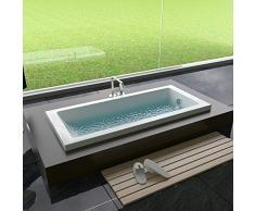 Alpenberger Cubic - Bañera para baño, 170 x 70 o 180 x 80 cm, rectangular, bañera de acrílico, moderna, ergonómica, color blanco, resistente, duradera, superficie fácil de limpiar