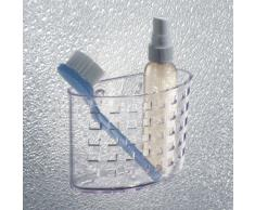 InterDesign Basic Cesta para ducha, estante de baño de plástico con ventosa para colocar sin taladro, transparente