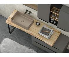 Dafne Italian Design - Mueble de baño Moderno con Lavabo de Suelo – Castaño Natural Pulido – Lacado Gris Humo