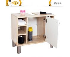 RICOO WM100-ES-W, Mueble baño bajo Lavabo, 60x54x32cm, Armario Auxiliar pequeño, Estantería Debajo lavamanos, Toallero, Madera Blanca y Roble marrón