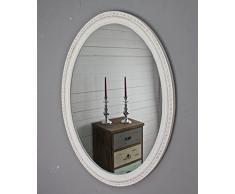 elbmöbel - Espejo de pared, ovalado, madera, Blanco, 60 x 80cm