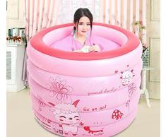 BTJC Inflable adulto plegable baño tina bañera barril bañera baño inflable bañera plástico grueso cañón cañón baño , Pink
