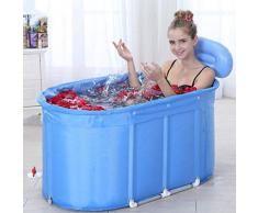 RANRANJJ Tina de baño Inflable Bañera de hidromasaje portátil Tinas portátiles para Uso Ambiental para Adultos Bañera de baño portátil Bañera de hidromasaje SPA para un Adulto Azul