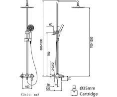 HAIHANGYUANDA Accesorios de Cobre de Acero Inoxidable, montado en la Pared de 8 Pulgadas Superior Spray Circular Ducha de Mano Puede Levantar rotar, Montaje de 3 Agujeros, 1.5 m Manguera
