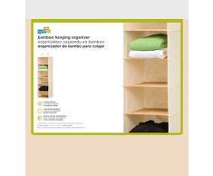 Honey Can Do SFT-01003 - Organizador colgante de armario para ropa u otros accesorios (6 repisas, 2 ganchos tipo percha, lona y bambú)
