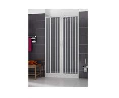 Cabina de ducha 150 con apertura plegable central. De PVC. Altura de las puertas de 185 cm