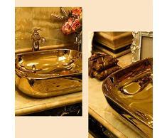 SEEKSUNGM Lavabo, Lavabo Oval De Baño, Lavamanos De Cerámica De Estilo Vintage, Apto para Baño Familiar Hotel Lavabo, Tamaño: 50 * 40 * 15CM (Oro)