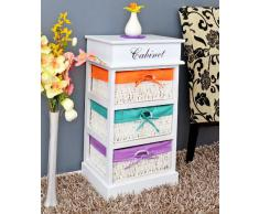 Cómoda en estilo rústico, mueble auxiliar, mesita de noche, estantería en blanco con tres cestas de colores naranja, verde y lila