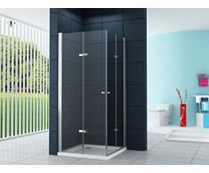 La entrada en curva Cabina de ducha Ducha Vigo 90 x 90 x 185 cm / 8 mm / con plato de ducha y sifón