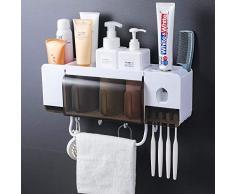 Soporte avanzado para cepillos de dientes para productos de limpieza, dispensador automático de cepillos de dientes, bañera desmontable con ventosa, ideal para niños y adultos