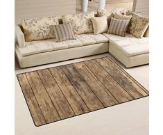 COOSUN - Alfombra antideslizante de madera antigua para salón, dormitorio, tela, multicolor, 31 x 20 inch