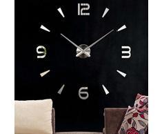Yosoo Reloj de pared ultrasilencioso en 3D, montaje con adhesivo, diseño decorativo, grande