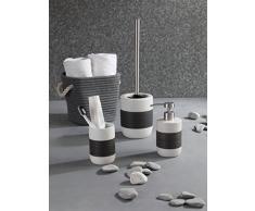 axentia 122415 Portacepillos de/Cepillo Plana Atenas, Redondo, WC de Accesorios de cerámica, Color Blanco/Gris, 7,5 x 7,5 x 11 cm