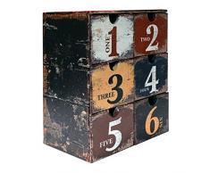 Rebecca Mobili Joyero con 6 cajones, Organizador cosméticos en Estilo Vintage, PVC, marrón, para almacenar Trucos y Accesorios - Medidas: 30 x 24 x 15 cm (AxANxF) - Art. RE4772