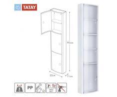 Tatay 4480001 - Armario de baño Vertical en PP, 22 x 10 x 90,5 cm, Apto para Sistema de fijación Glu&Fix armarios, Color glacé