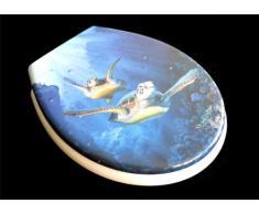Asiento de inodoro con tapa (duroplast, tapa de bajada lenta, extraíble para la limpieza), diseño con dibujo de tortuga