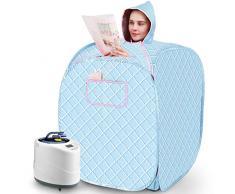 Sauna de Vapor portátil - Calentador infrarrojo Sauna Box 1000W, Ajuste de la Temperatura de 1-9 Engranajes Controlado electrónicamente, con Control Remoto inalámbrico,Blue