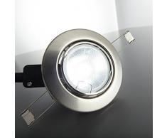 Lámpara de techo I Foco LED empotrable I Focos giratorios I Kit de 10 unidades I Incluye 10 x 5 W luces LED GU10 I Cálido-blanco I Metal color níquel mate I Focos LED redondos I 230 V I IP23 I Ø 86 mm