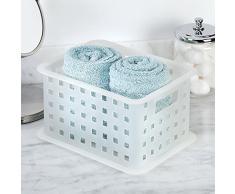 Interdesign 88101EU Spa - Cesto organizador para ducha (tamaño pequeño), color blanco translúcido