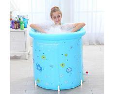 Bañera Barril de baño Plegable de Color Azul XL, Inflable, plástico Plegable portátil de plástico, inmersión, SPA en casa, Gran tamaño para Adultos 80x80cm