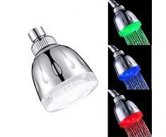 ZHJYD Pequeño LED con un patrón de pequeño Superior Circular Aerosol alcachofa de Ducha termostato termocrómico