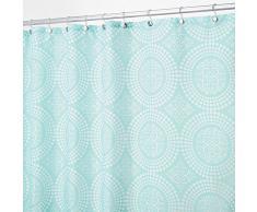 InterDesign Medallion Cortina de baño textil | Cortina para baño de 183 cm x 183 cm para bañera y plato de ducha | Cortina de ducha de círculos fácil de limpiar | Poliéster menta