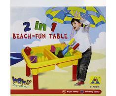 HZY 2 en 1 Juguete Mesa de Playa Cajón de Arena y Agua Alta Calidad de Plástico Tiene Muchos Pequeños Juguetes Incluye Piscina Tina de Baño o Cinéticos Juguetes Regalo para Niños
