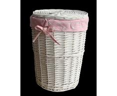 Cesto para la ropa sucia en blanco DVier rosa D, mimbre, 32 x 45