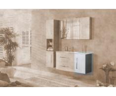 Lavabo base armario Lugano/supletoria puerta abatible (frente) Color: blanco, color (estructura): pino-Antracita