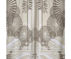 MSV 140803 - Cortina de Ducha (poliéster y plástico, 180 x 200 x 0,1 cm, 12 Anillas), diseño de sombrillas, Color marrón