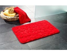 """Alfombrilla de baño // Alfombrilla de baño con diseño """"London"""" de piedra - con aspecto de madera de!, rojo, 50 x 80 cm"""