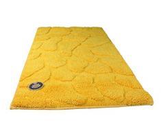 Gözze 1032-13-060100 - Alfombra para baño, diseño de piedras, Microfibra de poliéster, amarillo, 70 x 120 cm