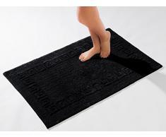 Casalanas - Carpineti, frontera Meandro, antideslizante alfombra de baño, 100% algodón natural, 60x60cm, negro