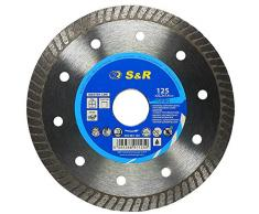 S&R Disco Diamante 125 mm para corte de Porcelanico, Cerámica dura, Azulejos, Mármol, Granito, Piedra caliza y otros materiales duros. Calidad Profesional