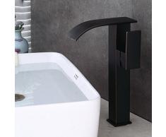 Antiguo Alto cascada lavabo grifo negro mate baño grifo grifo mezclador monomando alta accesorio de grifo para lavabo monomando con amplia caño alto de latón aceite eingerieben Bronce