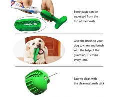 Bogeer Cepillo de Dientes para Perros Dog Brushing Stick Limpieza de higiene Dental Cuidado Oral para Mascotas Juguete para Masticar Regalo de Amante de los Animales no tóxica verde
