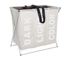 Wenko 3440113100 - Cesto para colada con 3 compartimentos de poliéster y aluminio (63 x 57 x 38 cm), color beige