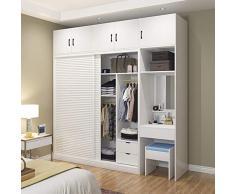 Armario de madera maciza puerta corredera Simple moderno armario de almacenamiento de dormitorio armario de montaje armario personalizado para el hogar ahorra espacio(Size:1700)