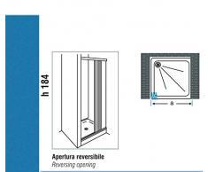 Negrari - S1b90 cabina de ducha plegable, 1 lado reducible, pvc, transparente, de 90 x 184h cm