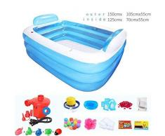 Bañera, piscinas práctica de niño o adulto inflable portátil Sauna La QLM- plegable y de inmersión bañeras, azul, 150cm -azul, 150cm de hidromasaje